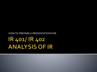 IR 401/ IR 402 ANALYSIS OF IR