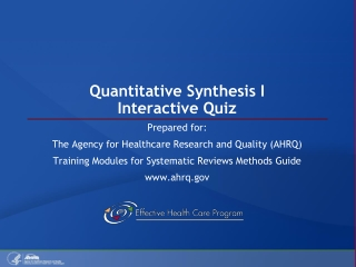 Quantitative Synthesis I Interactive Quiz