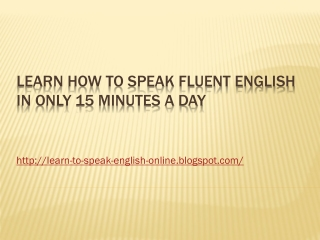 LearnHow to Speak Fluent English