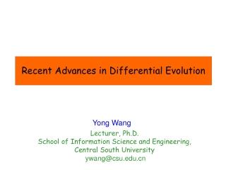 Recent Advances in Differential Evolution