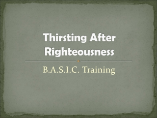 Thirsting After Righteousness