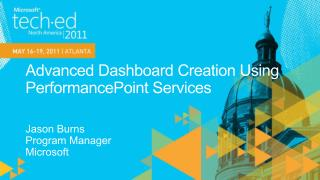 Advanced Dashboard Creation Using PerformancePoint Services