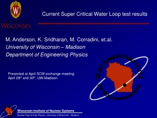Current Super Critical Water Loop test results