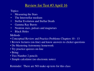 Review for Test #3 April 16