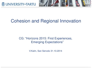 Cohesion and Regional Innovation