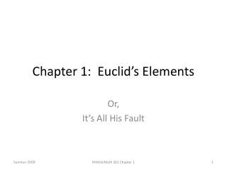 Chapter 1:  Euclid's Elements