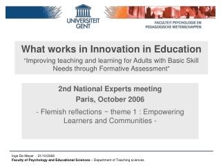 2nd National Experts meeting Paris, October 2006
