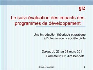 Le suivi- valuation des impacts des programmes de d veloppement