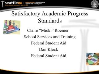 Satisfactory Academic Progress Standards