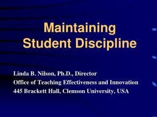 Maintaining  Student Discipline