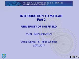 INTRODUCTION TO MATLAB Part 2