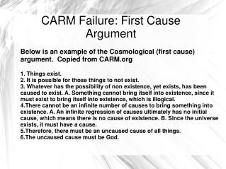 CARM Failure: First Cause Argument