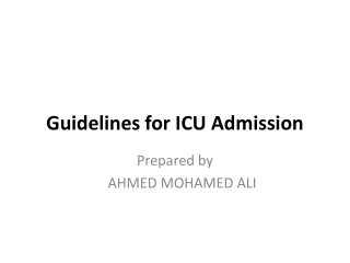 Guidelines for ICU Admission