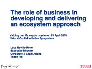 The role of business in developing and delivering an ecosystem approach