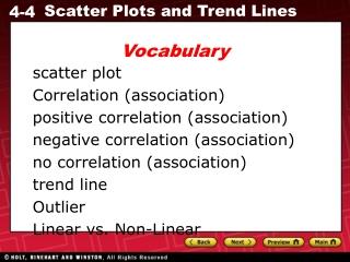 scatter plot Correlation (association) positive correlation (association)