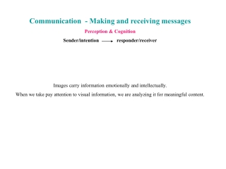 Communication  - Making and receiving messages Perception & Cognition
