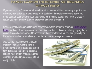 Payday loan on the internet