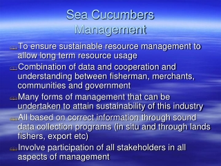Sea Cucumbers  Management