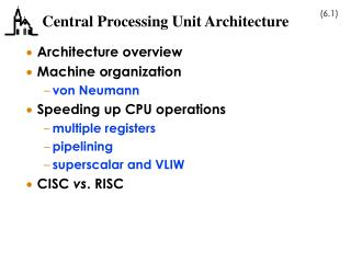 Central Processing Unit Architecture