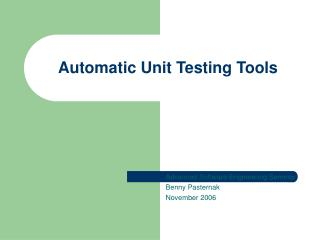 Automatic Unit Testing Tools