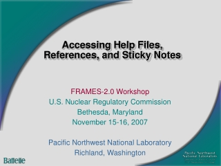 Accessing Help Files,  References, and Sticky Notes