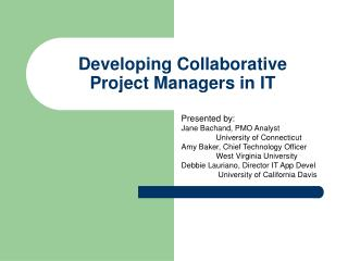 Developing Collaborative  Project Managers in IT