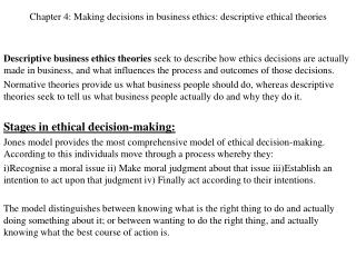 Chapter 4: Making decisions in business ethics: descriptive ethical theories