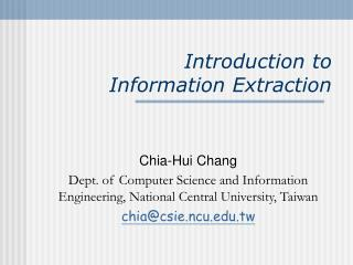 Introduction to  Information Extraction