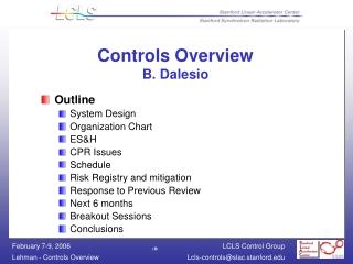 Controls Overview B. Dalesio