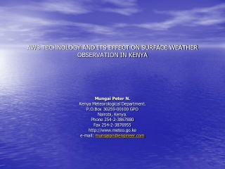 AWS TECHNOLOGY AND ITS EFFECT ON SURFACE WEATHER OBSERVATION IN KENYA