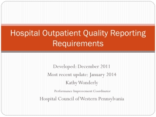 Hospital Outpatient Quality Reporting Requirements