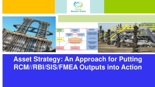 Asset Strategy: An Approach for Putting RCM//RBI/SIS/FMEA Outputs into Action