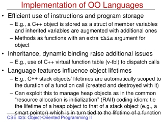 Implementation of OO Languages