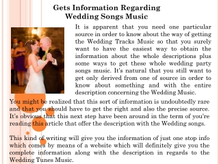 Gets Information Regarding Wedding Songs Music
