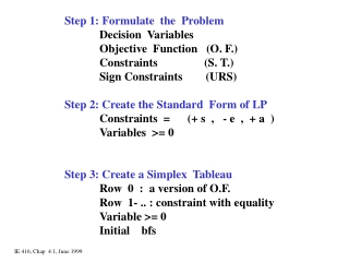 Step 1: Formulate  the  Problem Decision  Variables Objective  Function   (O. F.)