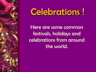 Celebrations !