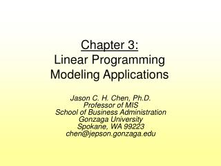 Chapter 3: Linear Programming  Modeling Applications
