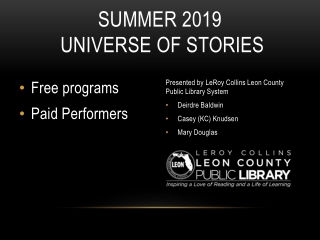 Summer 2019  Universe of stories