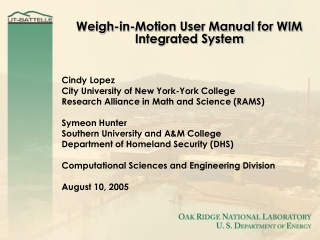 Weigh-in-Motion User Manual for WIM Integrated System