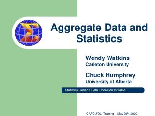 Aggregate Data and Statistics