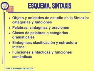 Objeto y unidades de estudio de la Sintaxis: categorías y funciones Palabras, sintagmas y oraciones Clases de palabras o