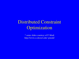 Distributed Constraint Optimization