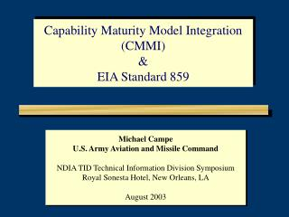 Michael Campe U.S. Army Aviation and Missile Command NDIA TID Technical Information Division Symposium Royal Sonesta Hot