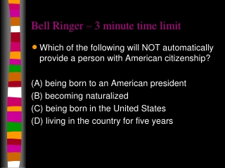 Bell Ringer – 3 minute time limit