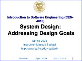 Introduction to Software Engineering CEN-4010