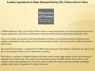 London Apartments in Huge Demand During The Chelsea Flower