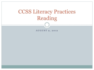 CCSS Literacy Practices Reading