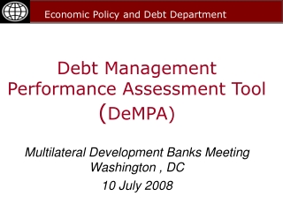 Debt Management Performance Assessment Tool ( DeMPA)