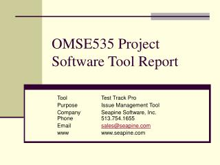 OMSE535 Project  Software Tool Report