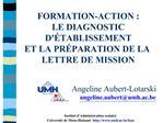 FORMATION-ACTION :  LE DIAGNOSTIC D TABLISSEMENT   ET LA PR PARATION DE LA LETTRE DE MISSION